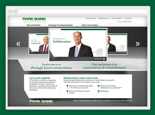 Park Bank branding and positioning work