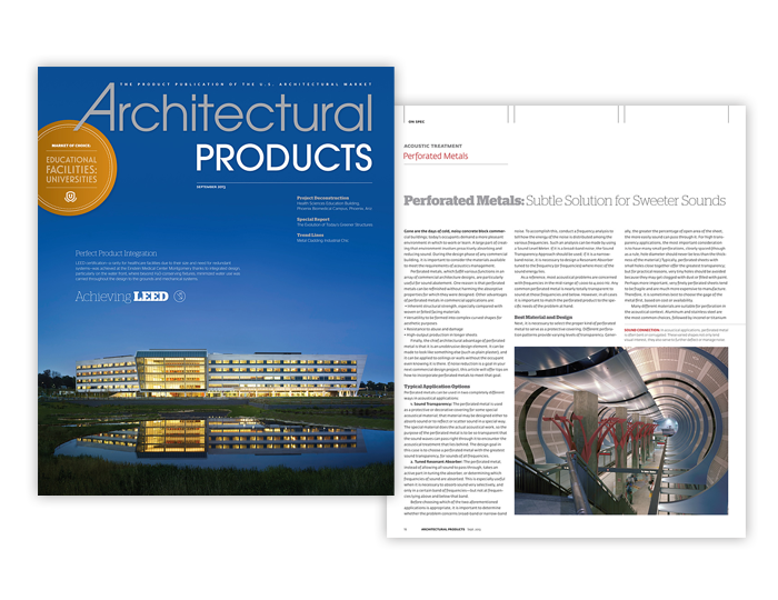 """""""Perforated Metals: Subtle Solution for a Sweeter Sound""""; Architectural Products"""