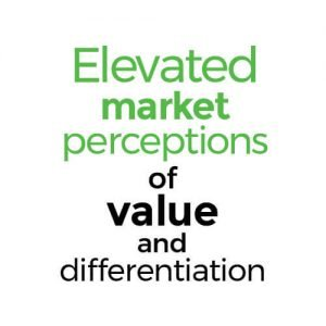 Elevated market perceptions of value and differentiation.